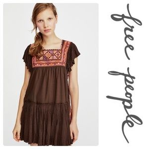 Free People day glow embroidered mini brown dress